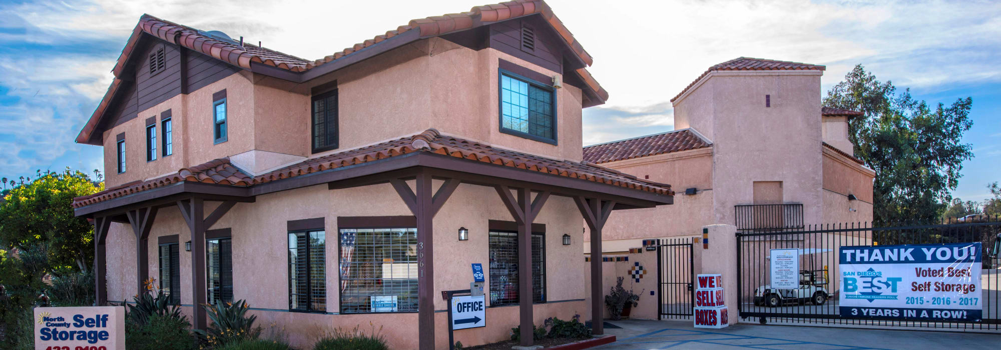 Branding on the exterior of North County Self Storage in Escondido, California