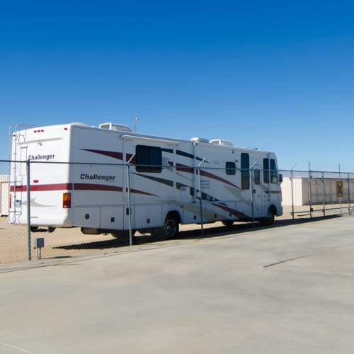 RV parked at A-American Self Storage in Palmdale, California