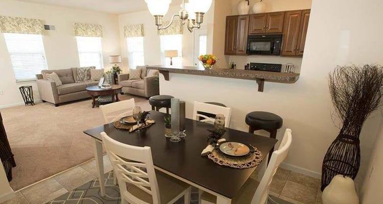 Beautifully designed dining area at The Encore at Laurel Ridge