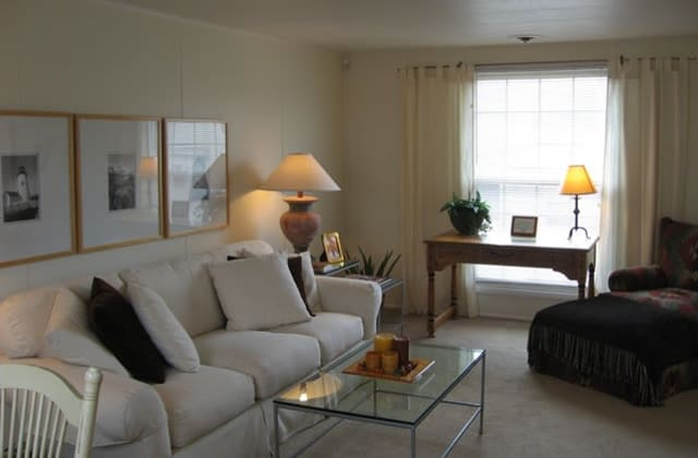 Living Room at Saddle Club Townhomes in Liverpool