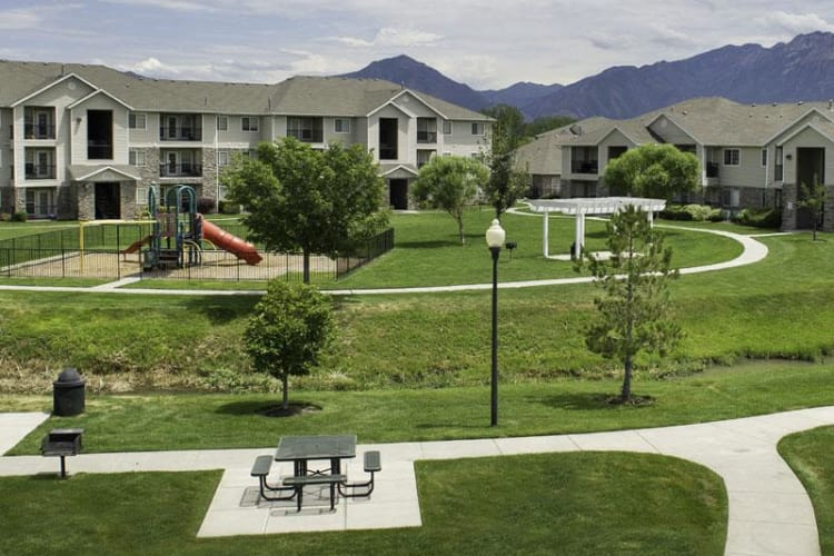 Exterior view of Fairstone at Riverview Apartments in Taylorsville, Utah