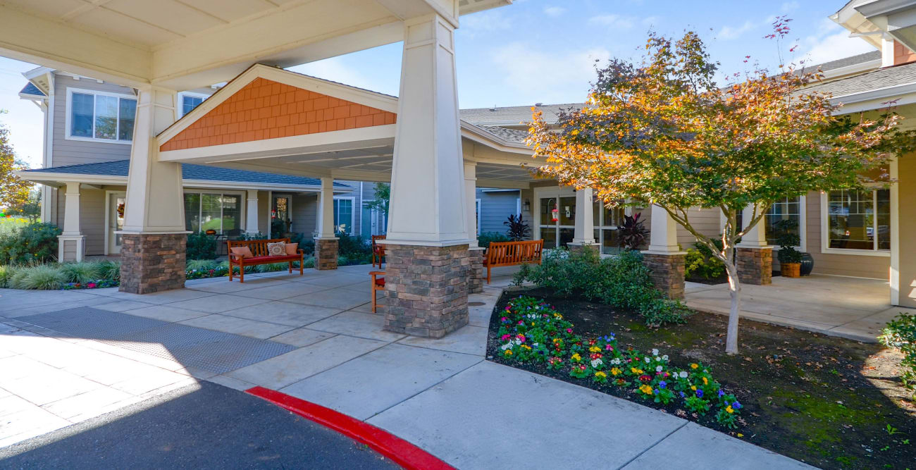 The Commons at Elk Grove front entrance at our senior living community
