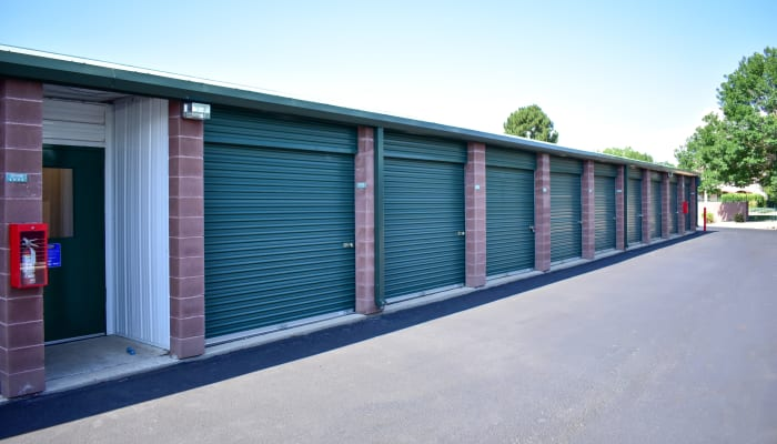 The front of exterior storage units at STOR-N-LOCK Self Storage in Thornton, Colorado