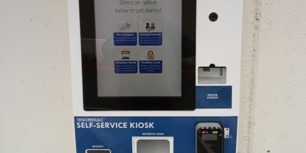Kiosk screen at Devon Self Storage