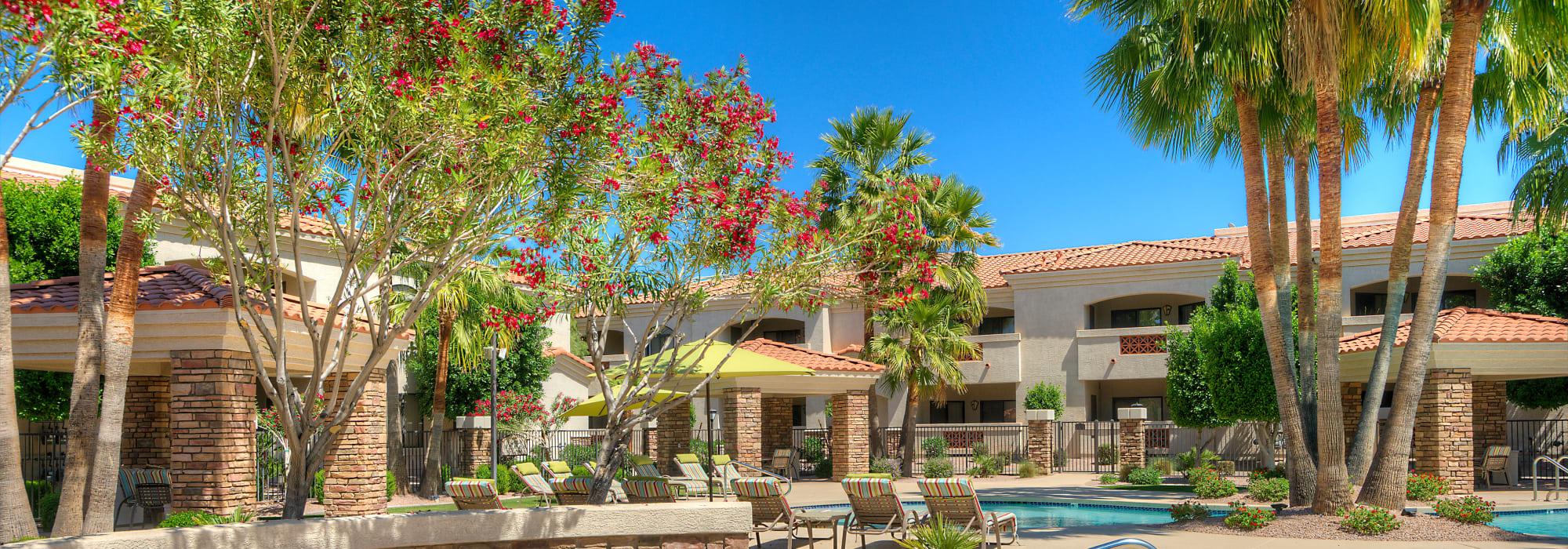Beautiful landscaping surrounds San Prado in Glendale, Arizona
