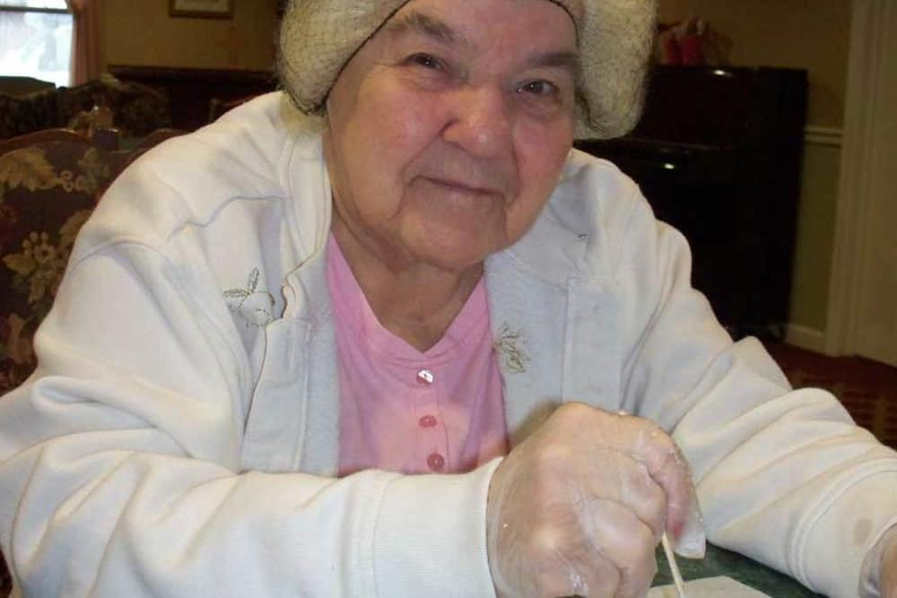 Resident doing an art project at Heritage Hill Senior Community in Weatherly, Pennsylvania