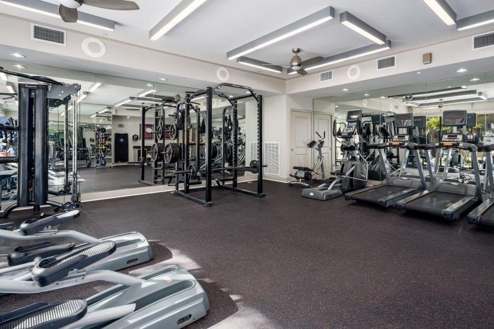 Fitness center at Addison Keller Springs in Addison, Texas.