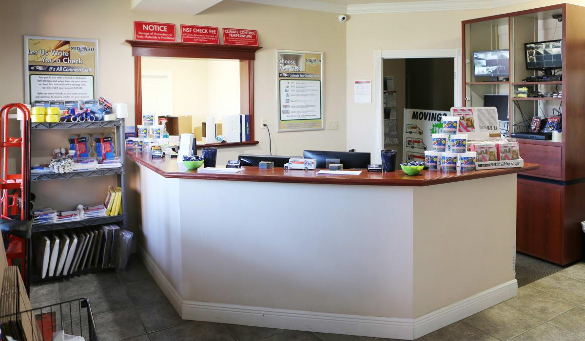 Leasing office at Midgard Self Storage in Newberry, Florida
