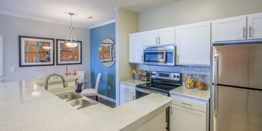 Model home's well-equipped kitchen with stainless-steel appliances at The Avant at Steele Creek in Charlotte, North Carolina