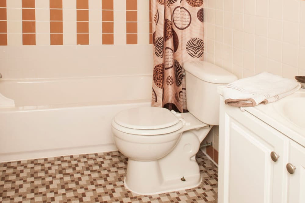 Bathroom model at Alpine Court East Apartments in Lindenwold, New Jersey