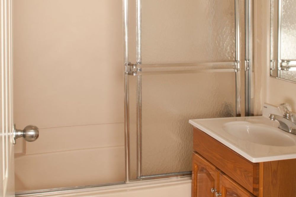 Bathroom with shower at Gregory Plaza in Passaic, New Jersey