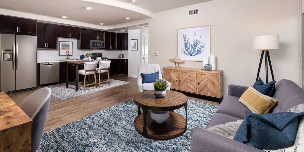Open-concept living room at Portside Ventura Harbor in Ventura, California