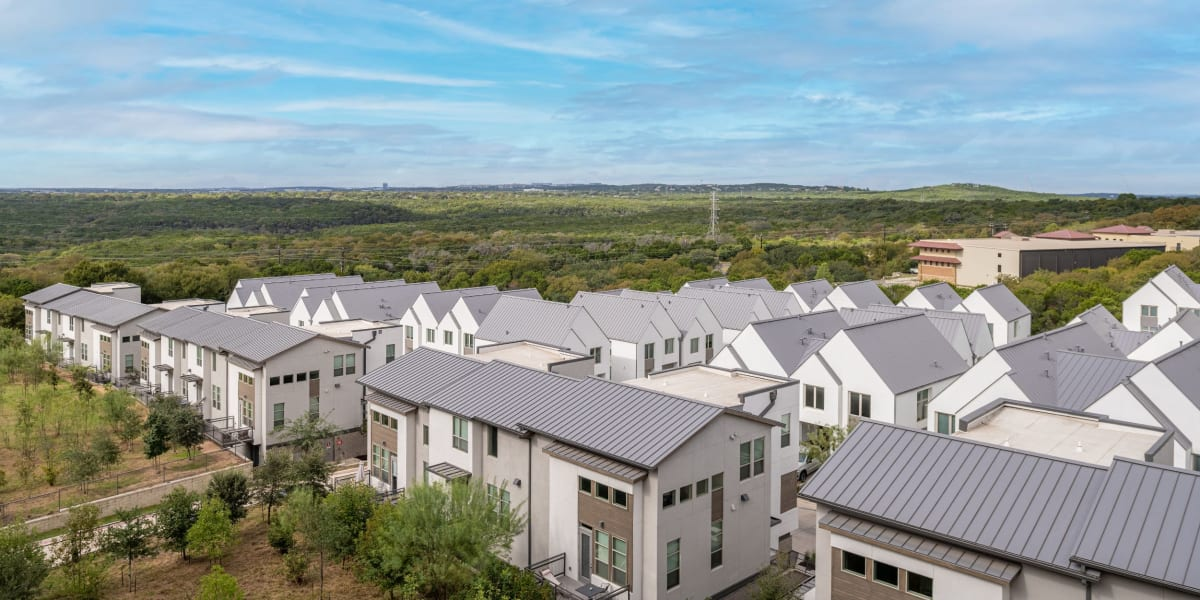 Aerial view of the units at Westerly 360 in Austin, Texas
