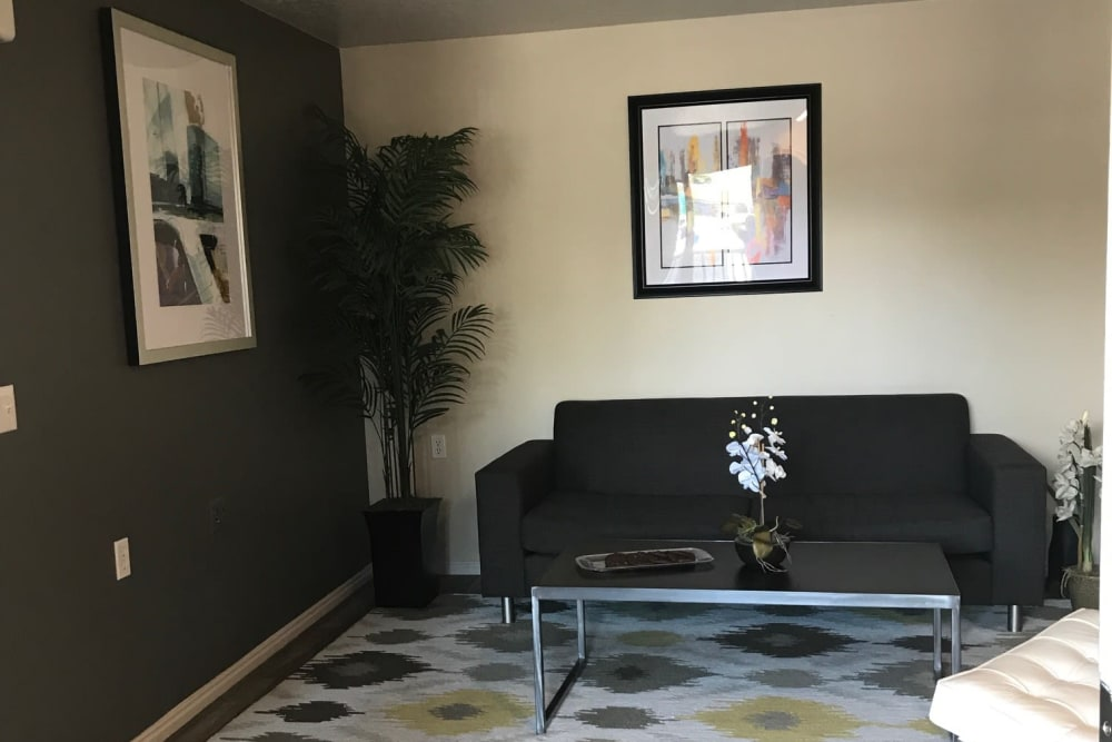 Living room at Woodgate Apartments