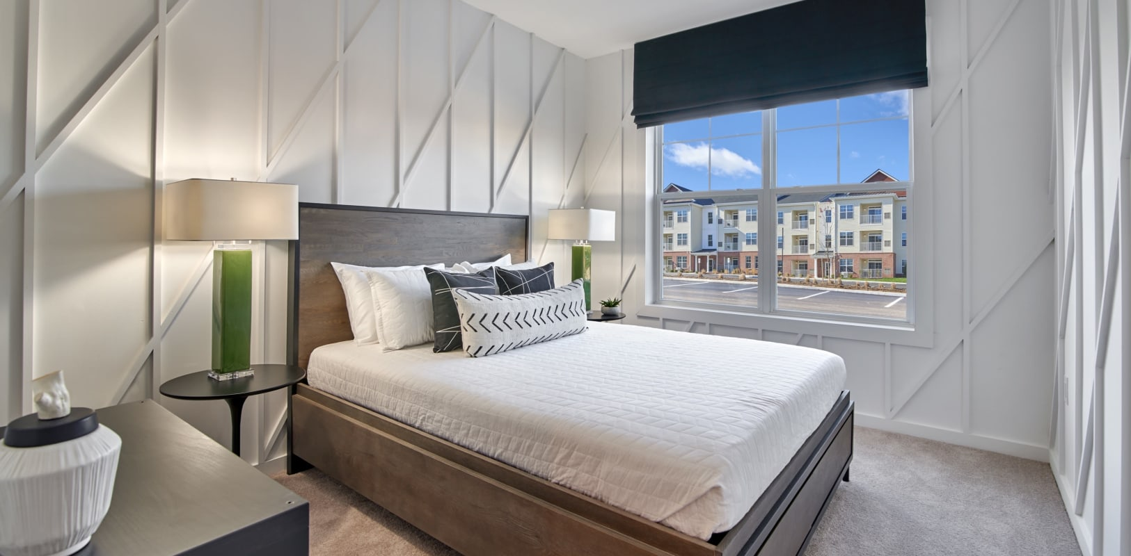 Comfortable bedroom with plush carpeting at The Mills at Lehigh in Bethlehem, Pennsylvania