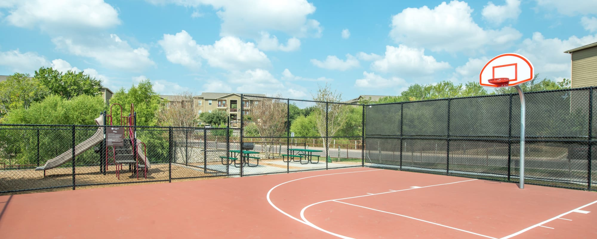 Basketball courts at Arya Grove in Universal City, Texas