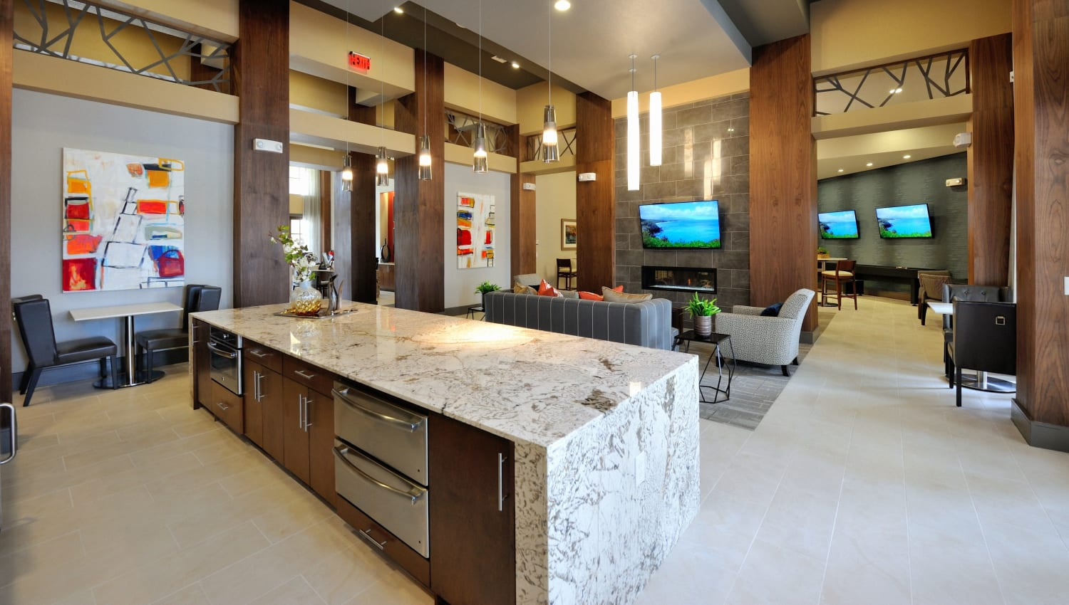 Community lounge at Olympus Falcon Landing in Katy, Texas