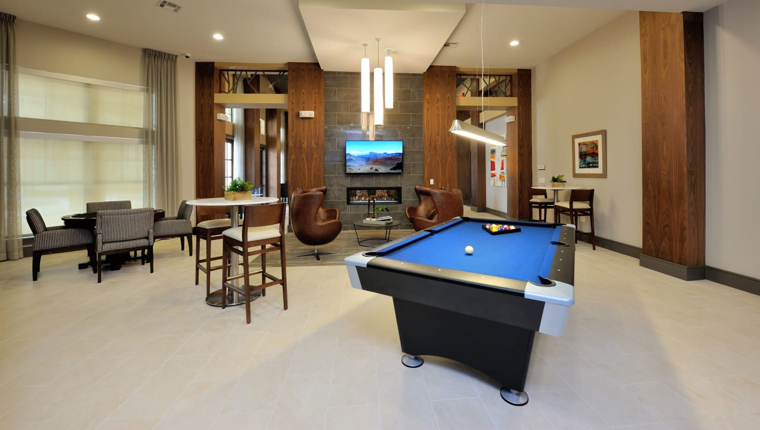 Billiards table and media room at Olympus Falcon Landing in Katy, Texas