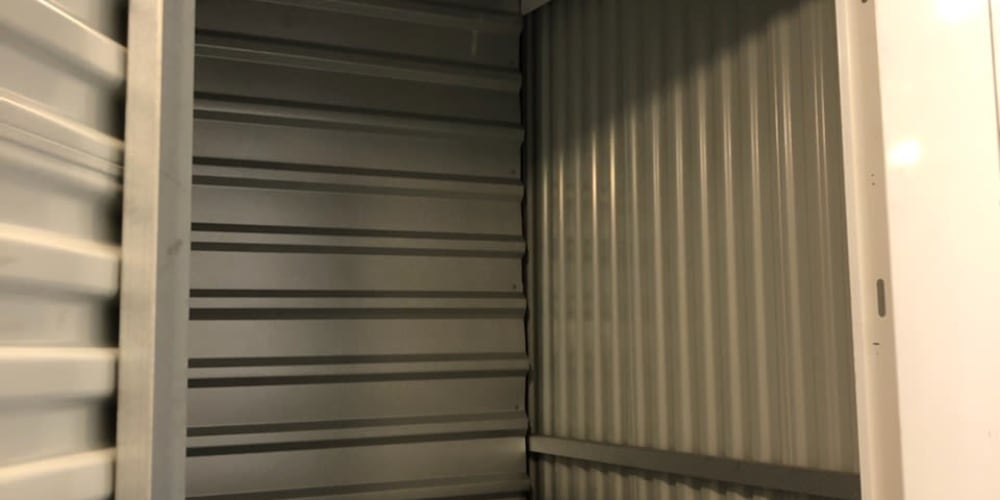 Inside a storage unit at Devon Self Storage in Spring, Texas