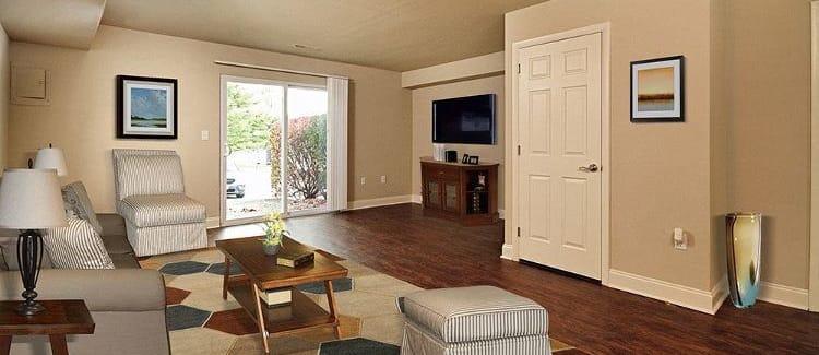 Spacious living room at The Village of Laurel Ridge in Harrisburg, Pennsylvania