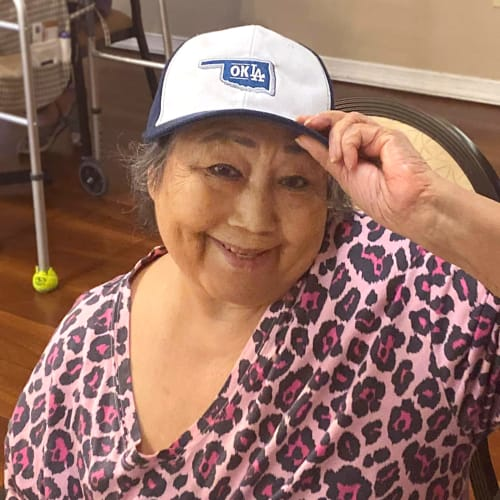 Smiling resident at Canoe Brook Assisted Living in Duncan, Oklahoma