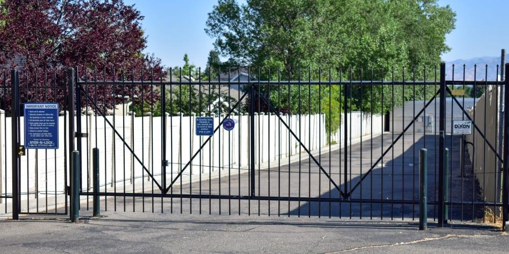 The front gate at STOR-N-LOCK Self Storage in Cottonwood Heights, Utah