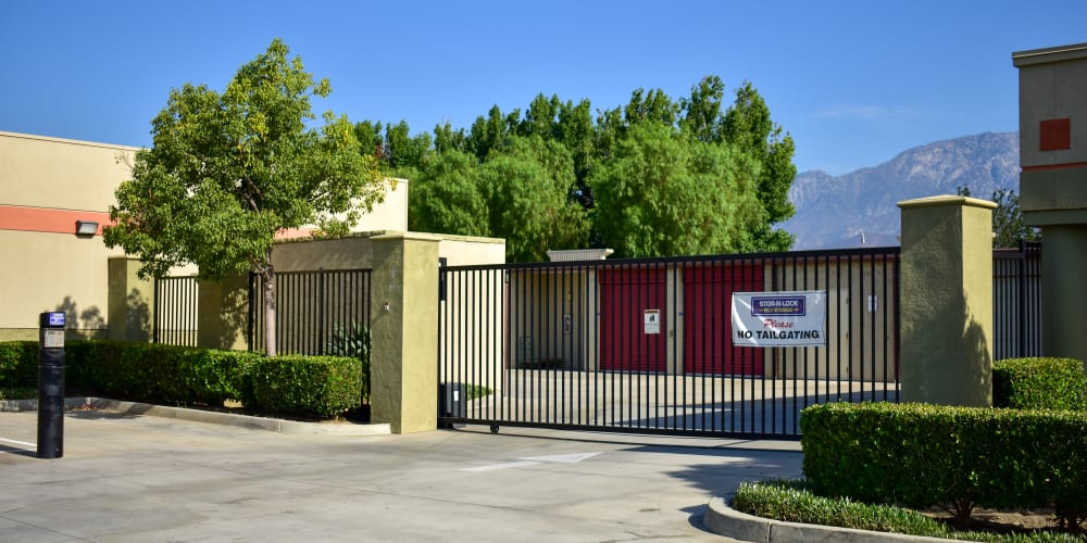 The front gate at STOR-N-LOCK Self Storage in Rancho Cucamonga, California