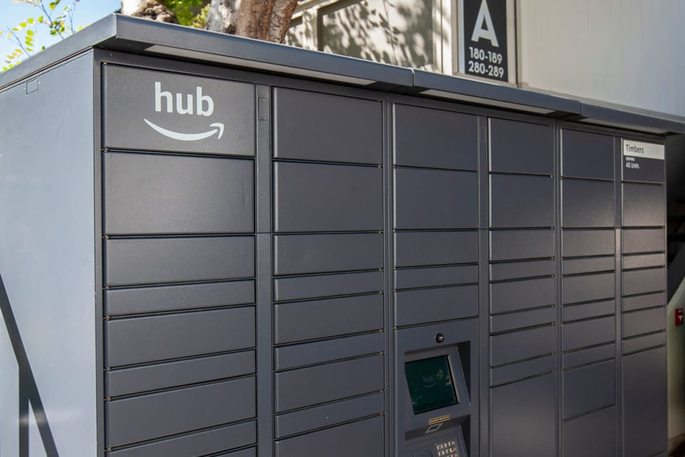 24-hour package lockers with Amazon HUB at The Timbers Apartments in Hayward, California