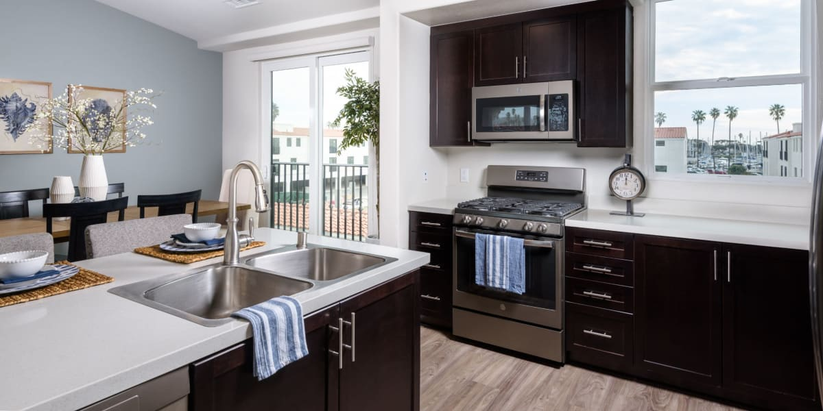 Modern kitchen amenities at Portside Ventura Harbor in Ventura, California