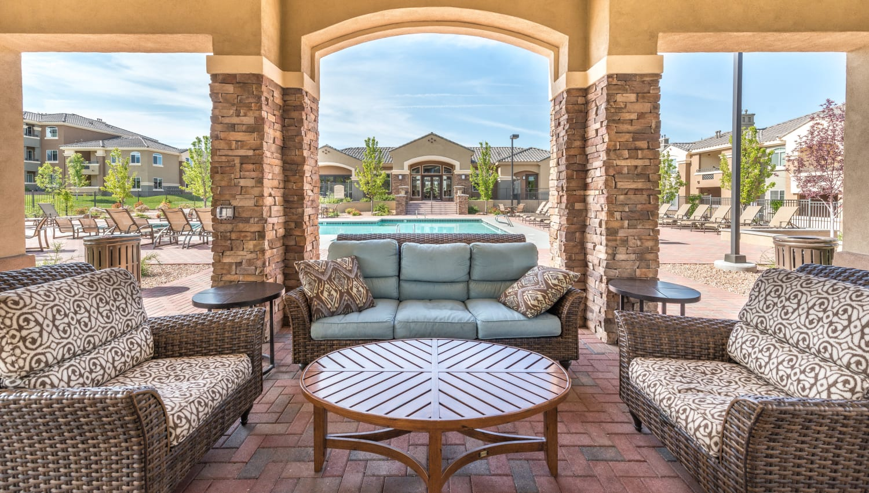 Beautiful covered patio at Olympus Encantada in Albuquerque, New Mexico