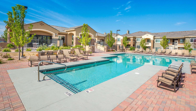 Ample poolside seating at Olympus Encantada in Albuquerque, New Mexico