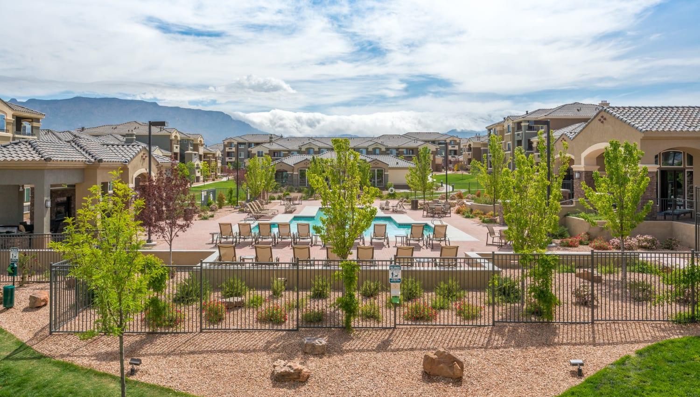 Poolside seating at Olympus Encantada in Albuquerque, New Mexico