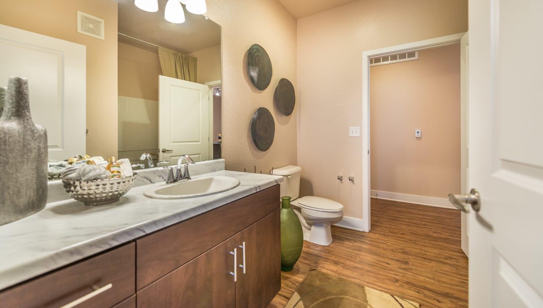 Bright bathroom at Olympus Encantada in Albuquerque, New Mexico