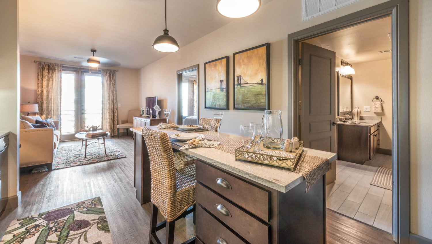 Open-concept gourmet kitchen in a model home at Union At Carrollton Square in Carrollton, Texas