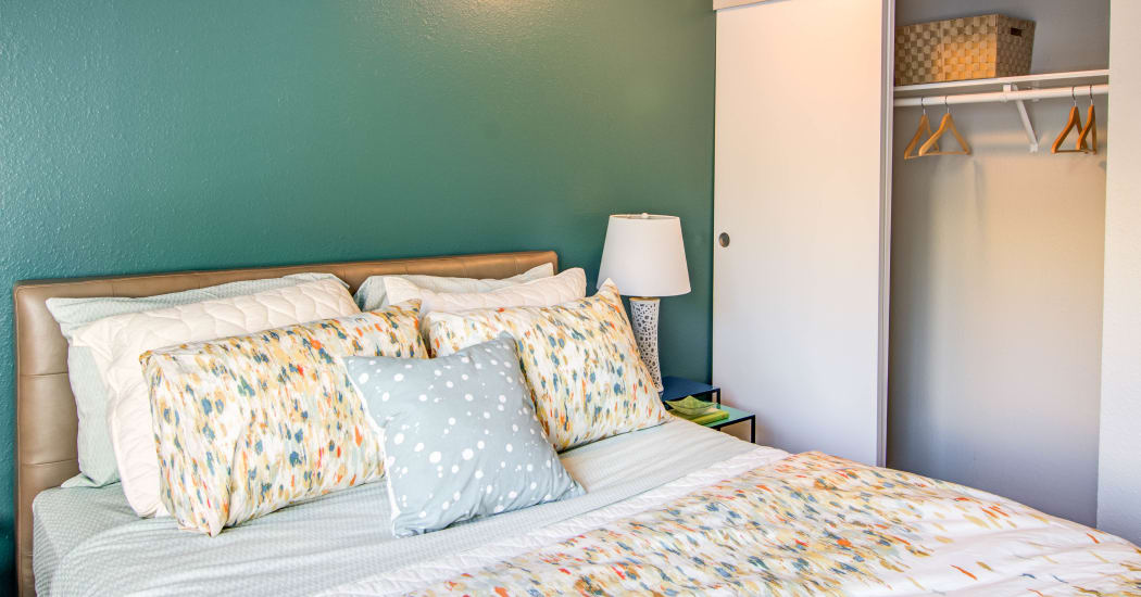 Cozy bedroom with closet at Montair at Somerset Hill in Tumwater, Washington
