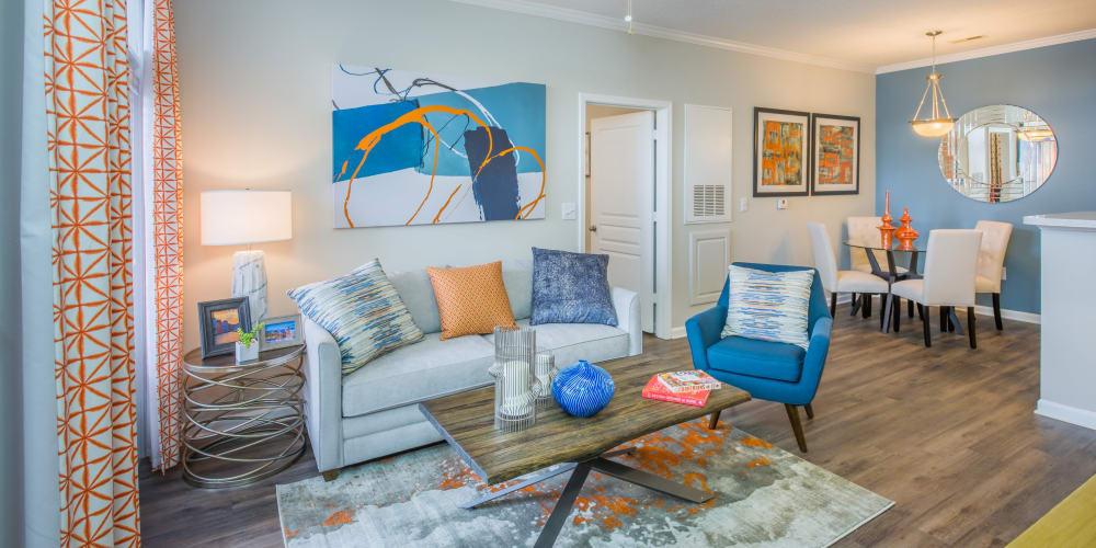 Modern furnishings model home's living area at The Avant at Steele Creek in Charlotte, North Carolina