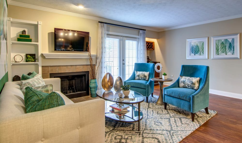 Living room at The Residences at Vinings Mountain in Atlanta, Georgia
