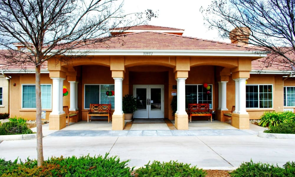 Building entrance at Wildwood Canyon Villa Assisted Living and Memory Care in Yucaipa, California