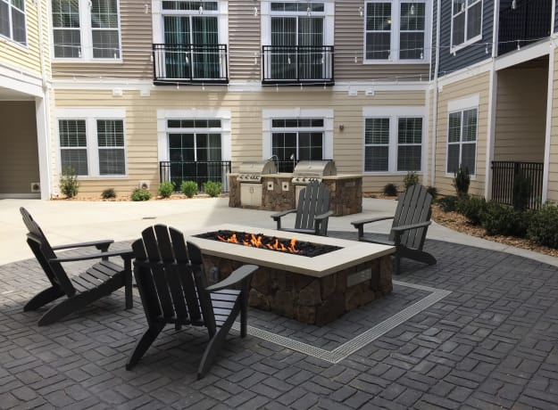 Fire pit at Nexus Luxury Apartments in Virginia Beach, Virginia