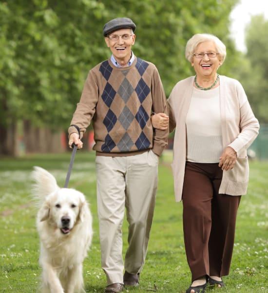 Senior couple taking a dog fo a walk at Pacifica Senior Living Vista in Vista, California