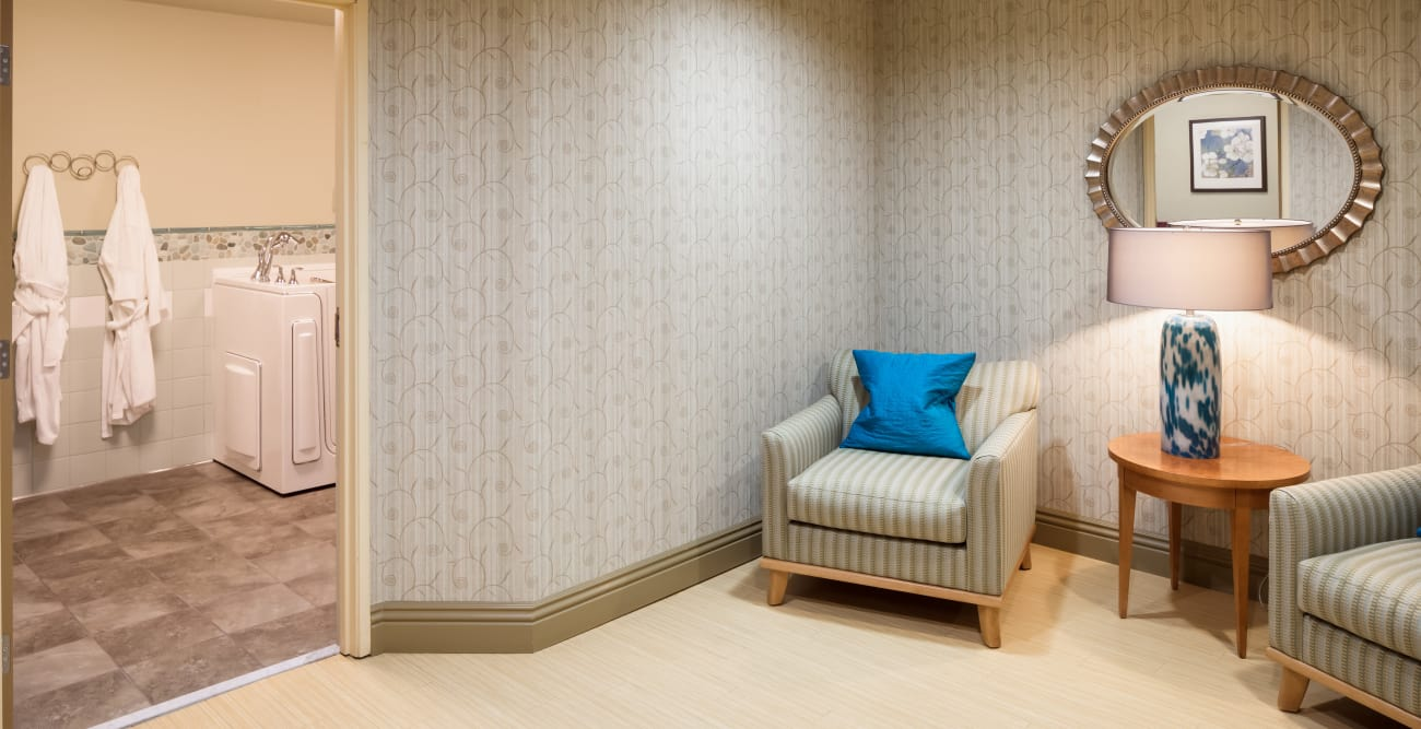 Cozy chairs in the hallway at The Reserve at Thousand Oaks in Thousand Oaks, California