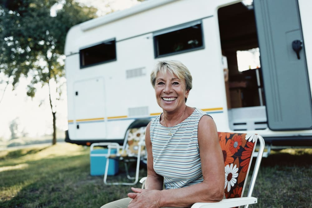 A women enjoying her RV out of storage at Van Mall Storage in Vancouver, Washington