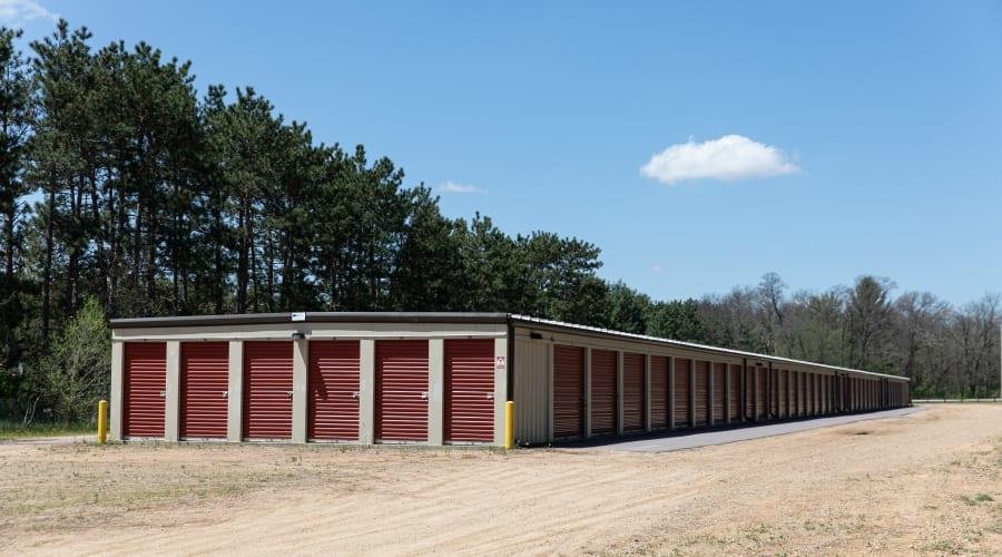 A row of storage units at KO Storage of Wisconsin Dells - Hwy 13 in Wisconsin Dells, Wisconsin