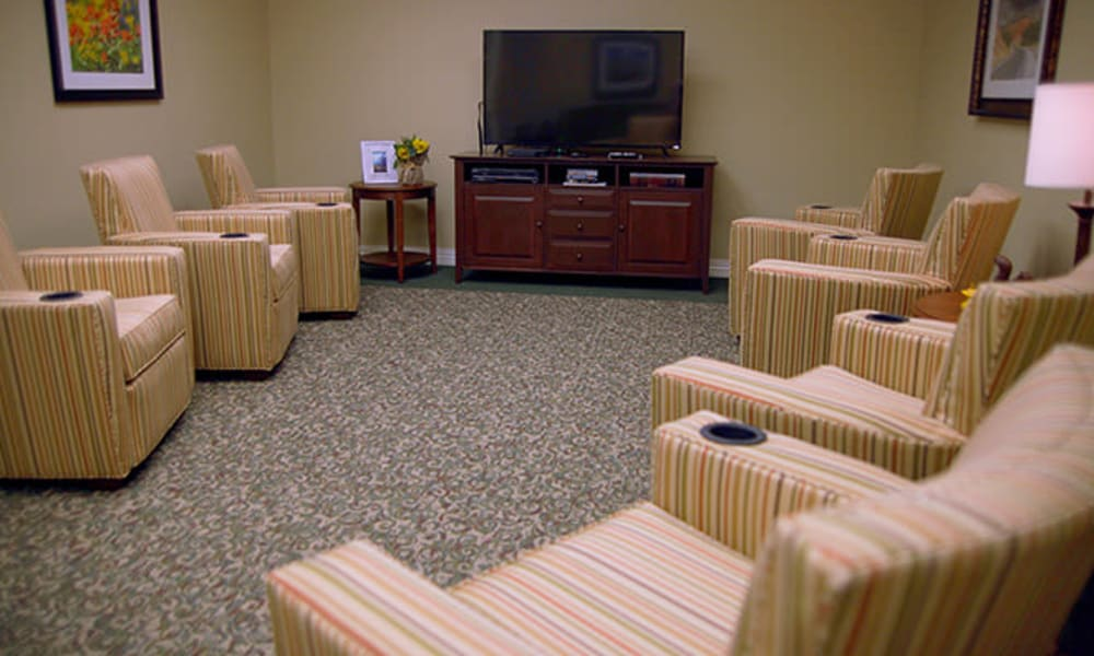 Movie theater at Absaroka Senior Living in Cody, Wyoming