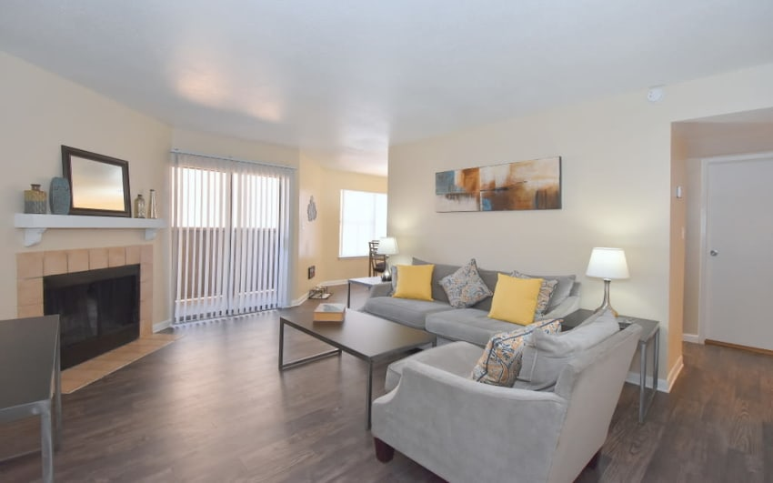 Spacious living room at Green Meadows Apartments