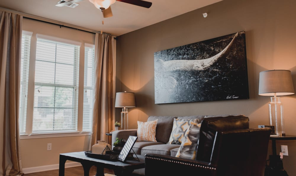 Townhome Style Living Room at at Springs at Creekside in New Braunfels, TX