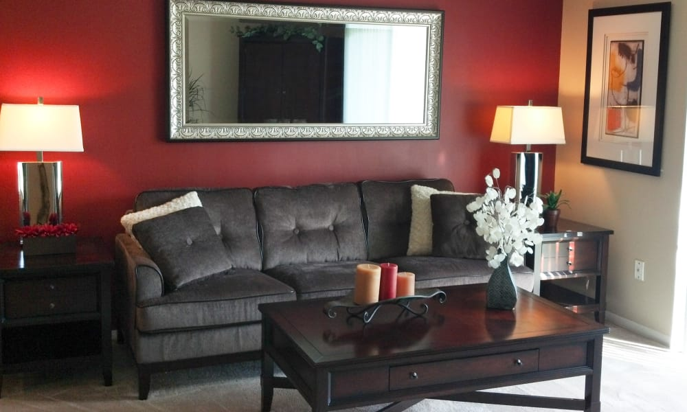 Beautiful living room at Fairway Trails Apartments in Ypsilanti, MI