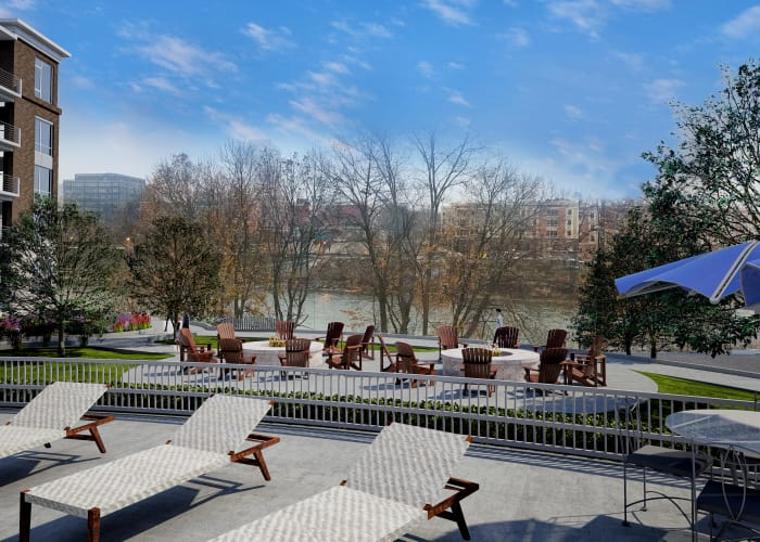 Spacious patio at 50 Front Luxury Apartments in Binghamton, NY