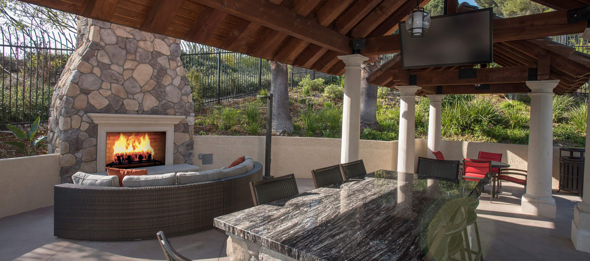 Outdoor fireplace at Shadow Ridge Apartment Homes in Simi Valley, California