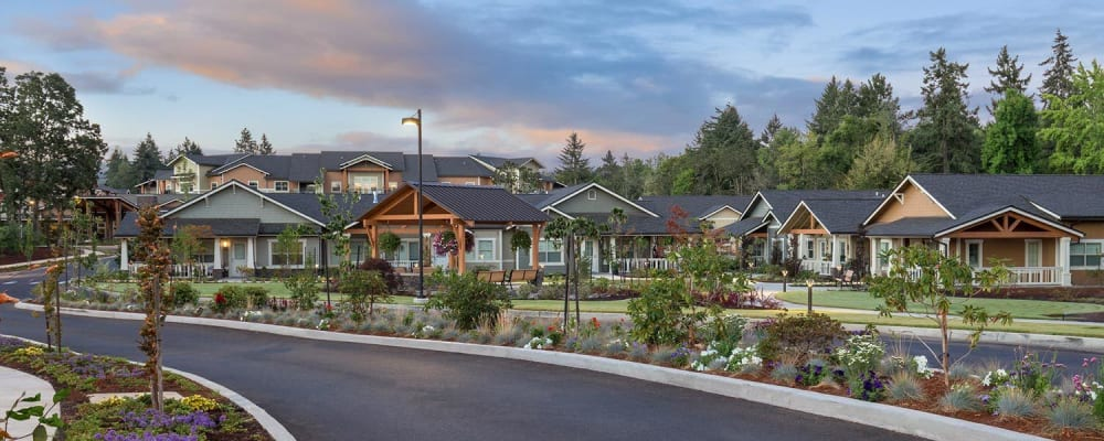 modern kitchen and dinning area in senior living apartment at The Springs at Greer Gardens in Eugene, Oregon